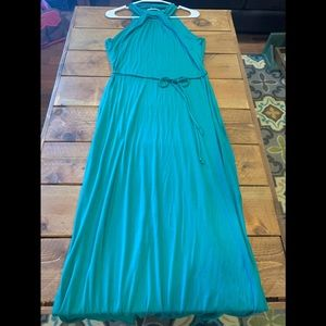 Teal long cotton dress